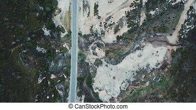 Aerial view of beautiful mountain road in Teriberka