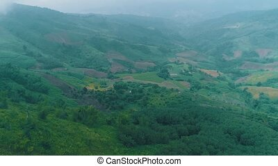 Aerial view of beautiful mountains landscape in Chiang Rai...