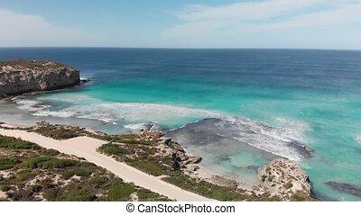 Aerial view of beautiful Pennington Bay in Kangaroo Island, South Australia