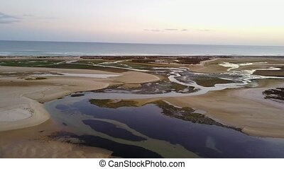 Aerial view of beautiful Ria Formosa in Algarve, Portugal