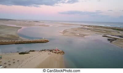 Aerial view of beautiful Ria Formosa in Algarve, Portugal -...