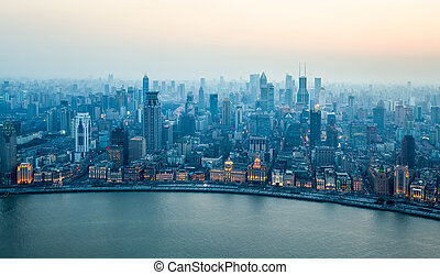 aerial view of beautiful shanghai bund in nightfall