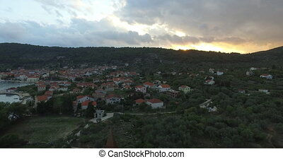 Aerial View Of Beautiful Small Town Sibenik.