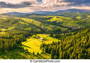 Aerial view of beautiful small village in Carpathian mountains
