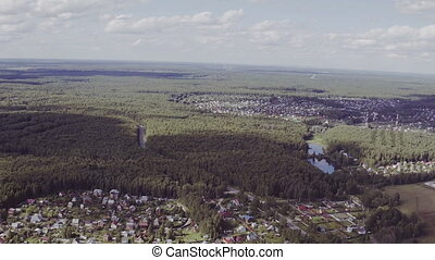 Aerial view of Beautiful small village or township in the forest