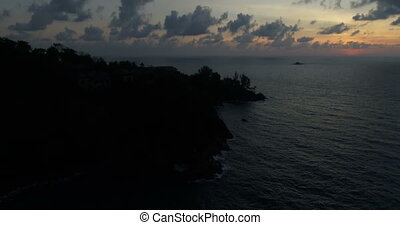 Aerial view of beautiful sunset above the sea