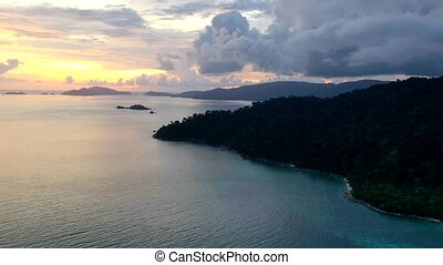 Aerial view of beautiful sunset in Koh Lipe island - Aerial...
