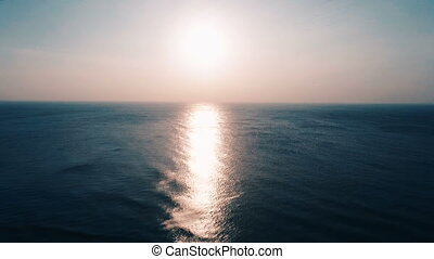 Aerial view of beautiful sunset over the sea