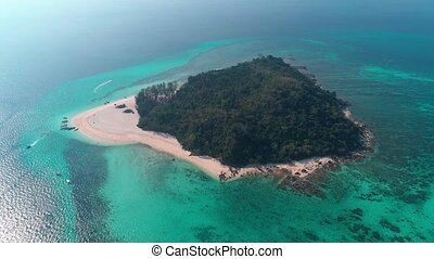 Aerial view of beautiful tropical Bamboo Island in Thailand...
