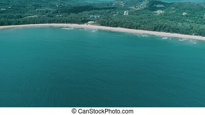 Aerial view of beautiful tropical Layan and Bangtao beach in...