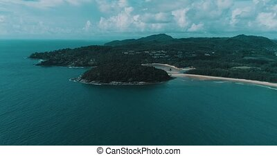Aerial view of beautiful tropical Layan and Bangtao beach in Phuket