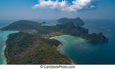 Aerial view of beautiful tropical Railay beach in Thailand