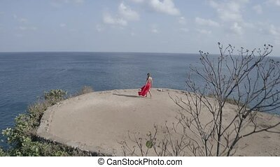 Aerial view of beautiful woman in red dress on the sea shore cliff