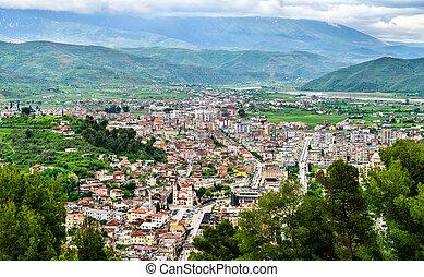 Aerial view of Berat town in Albania