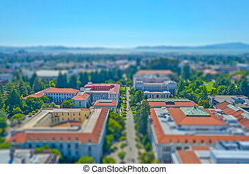 Aerial View of Berkeley University Campus, USA. Tilt-shift effect applied
