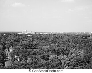 Aerial view of Berlin in black and white