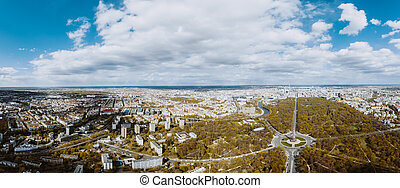 Aerial View of Berlin on cloudy autumn day