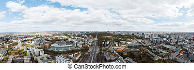Aerial View of Berlin on cloudy summer day