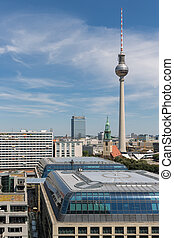 Aerial view of Berlin with modern office buildings and TV tower