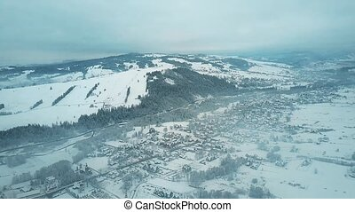 Aerial view of Bialka Tatrzanska village, the famous ski...