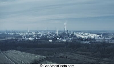Aerial view of big air polluting industrial area - Aerial...