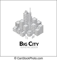 Aerial view of big city, outline design with shadows, isometric illustration