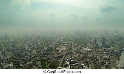 Aerial view of big city panorama