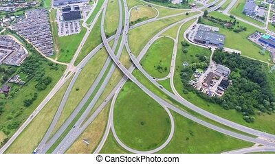 aerial view of big roadcross with heavy traffic