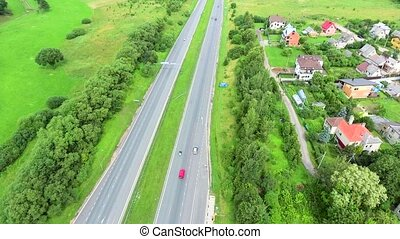 aerial view of big roadcross with havy traffic