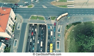 Aerial view of big traffic jam in the city - Aerial view of...
