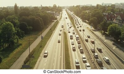 Aerial view of big traffic jam on a sunny day - Aerial view...