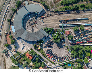 Aerial view of big train turning station