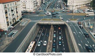 Aerial view of big urban traffic jam in Warsaw, Poland -...