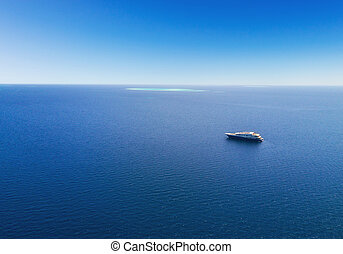 Aerial view of big yacht in sea - Aerial view of big luxury...