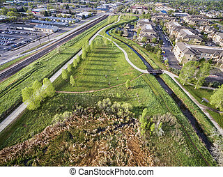 aerial view of bike trails