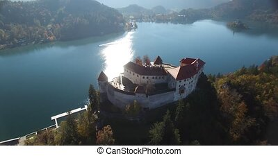 Aerial view of Bled Castle and Bled lake landscape with...