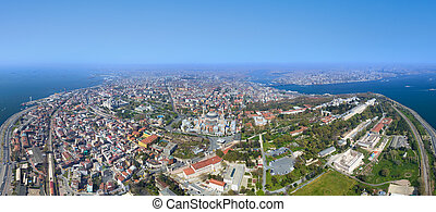 Aerial view of Blue Mosque and Hagia Sophia in Istanbul
