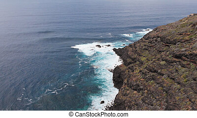 Aerial view of blue sea coast
