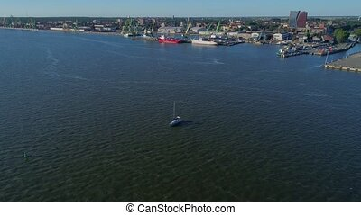 aerial view of boat at the sea shore - aerial view of boat...