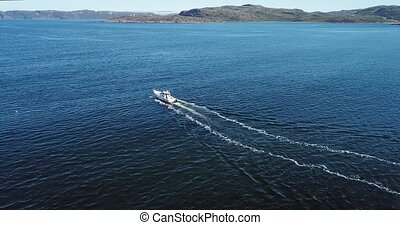 Aerial view of boat in Barents Sea