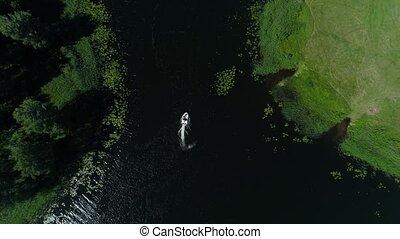 aerial view of boat in beautiful lake