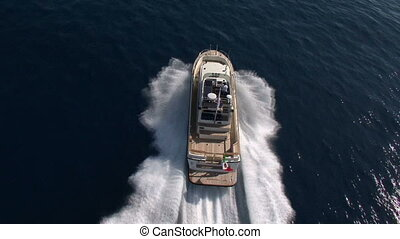 Aerial view of boat sailing