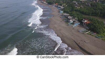 Aerial view of boats at Batu Bolong beach, Canggu, Bali, ...