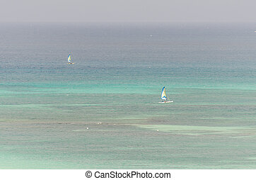 Aerial view of boats from the west coast in Aruba