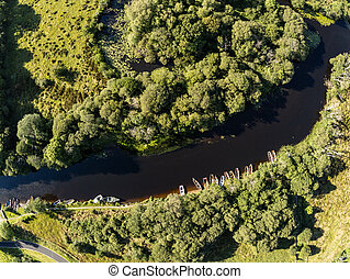 Aerial view of boats in Owenriff river