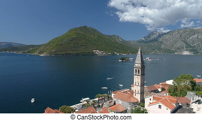 aerial view of Boka Bay above old Perast in Montenegro -...
