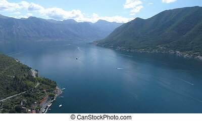 aerial view of Boka Bay above old Perast, Montenegro -...