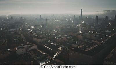 Aerial view of Bologna cityscape in the morning, Italy