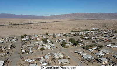 Aerial view of Bombay Beach City in California next to Salton Sea, United States.