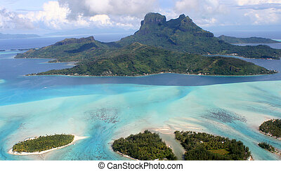 Aerial view of Bora Bora, French Polynesia.